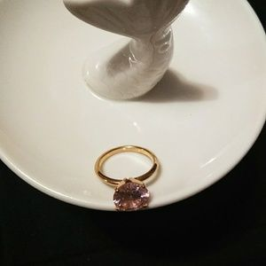 💝💍14kt Gold over Silver Pink CZ Diamond Ring